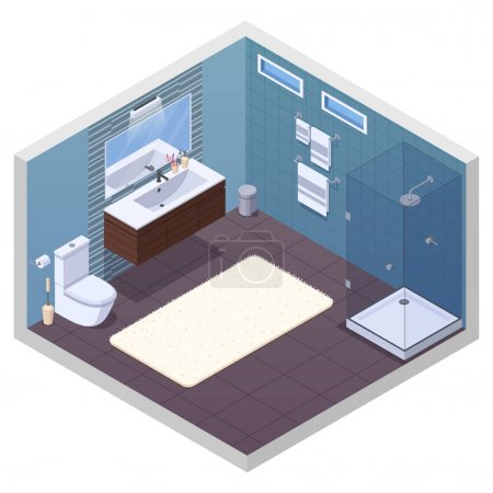 Illustration for Bathroom isometric interior with glossy shower unit lavatory bowl vanity basin mirror and soft bath mat vector illustration - Royalty Free Image