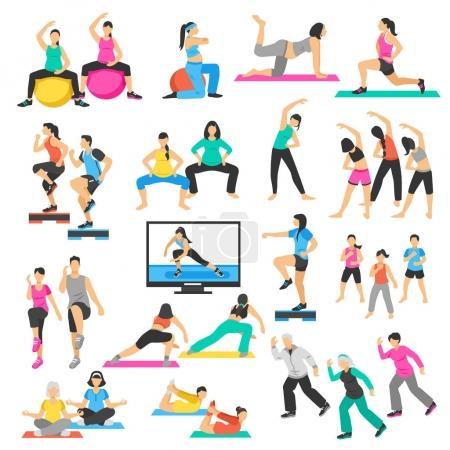 People Yoga Gymnastics Aerobics Set