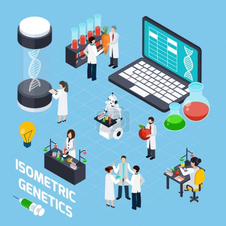 Illustration for Genetics composition with dna symbols scientists used laboratory experiments and image of robot with tubes isometric vector illustration - Royalty Free Image