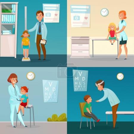 Kids Visit Doctors Cartoon Compositions