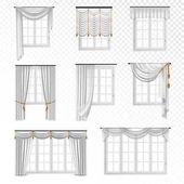 Realistic Curtain Windows Set
