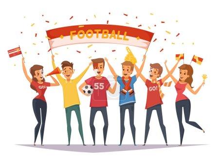 Illustration pour Couleur fan rooter buff composition de groupe avec des drapeaux et des bannières filles et garçons illustration vectorielle - image libre de droit