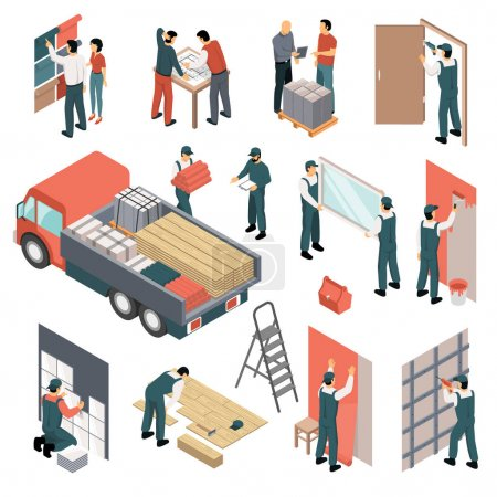 Illustration for Process of planning and performing apartments renovation icons set isolated on white background isometric 3d vector illustration - Royalty Free Image
