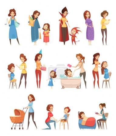 La maternité Cartoon Retro Icons Set