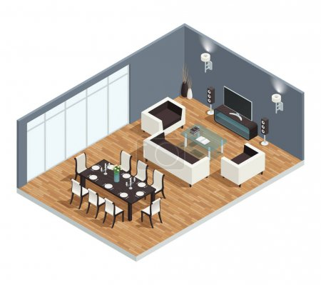 Illustration for Dining room isometric conept with TV table and chairs vector illustration - Royalty Free Image