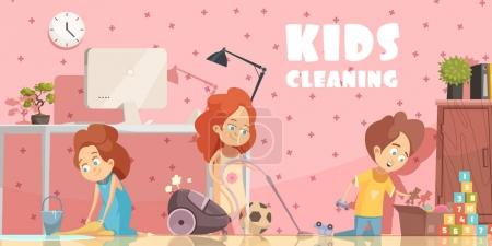 Illustration for Little children cleaning living room retro cartoon poster with sweeping floor ordening toys and vacuuming vector illustration - Royalty Free Image