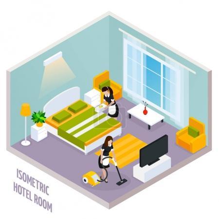 Illustration pour Intérieur de la chambre d'hôtel isométrique coloré avec des murs et aussi il y a un nettoyage de l'illustration vectorielle de la chambre - image libre de droit