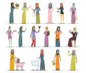 Arabic Woman Icons Set
