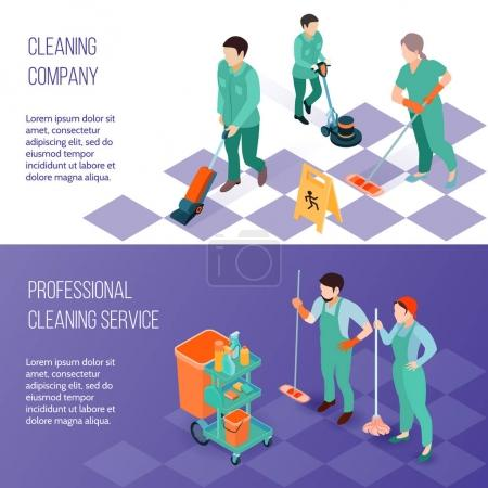 Illustration for Professional industrial deep cleaning company team equipment and services 2 horizontal isometric banners set isolated vector illustration - Royalty Free Image