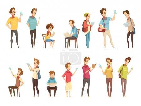 Illustration pour Groupes de garçons adolescents avec des gadgets électroniques intelligents de téléphones cellulaires communiquant en ligne illustration vectorielle isolée de collection d'icônes de dessin animé rétro - image libre de droit
