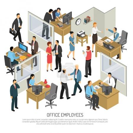 Photo for People in office interior isometric design concept with groups of creative employees participating in business process vector illustration - Royalty Free Image
