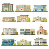 Colored Municipal Buildings Icon Set