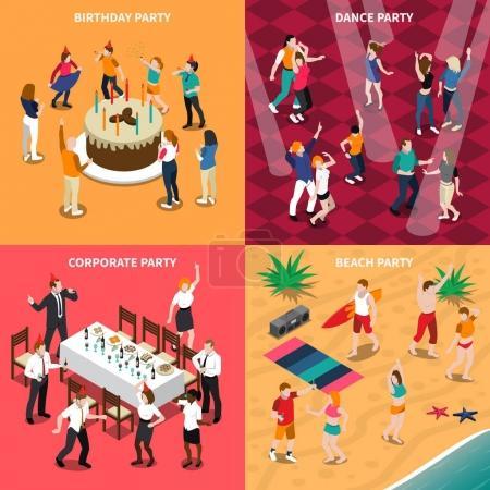 Illustration pour Concept de design isométrique avec des personnes à la fête d'anniversaire, soirée de danse, célébration d'entreprise et illustration vectorielle isolée de la plage - image libre de droit