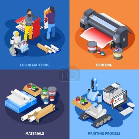 Illustration for Printing house polygraphy industry isometric 2x2 design concept with images of plotter materials computer robots and workers vector illustration - Royalty Free Image