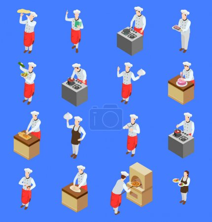 Photo for Professional cooking people chef pizzaiolo isometric people icons collection of isolated human characters with kitchen appliances vector illustration - Royalty Free Image