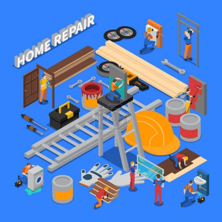 Photo for Isometric colored home repair worker people composition with combined icon set on repair and tools of workers theme vector illustration - Royalty Free Image