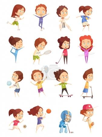 Kids Sport Decorative Icons Set
