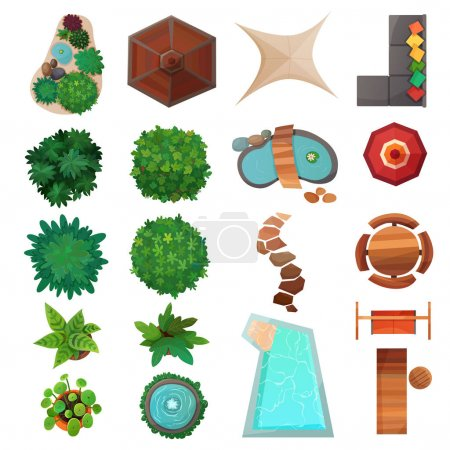 Illustration for Set of landscape design elements top view with green plants, swimming pool, umbrellas, sidewalk isolated vector illustration - Royalty Free Image