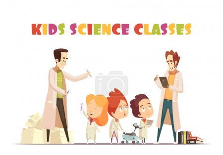 Illustration for Children science classes design concept with two adults  showing to kids chemistry experiment and interesting book cartoon vector illustration - Royalty Free Image