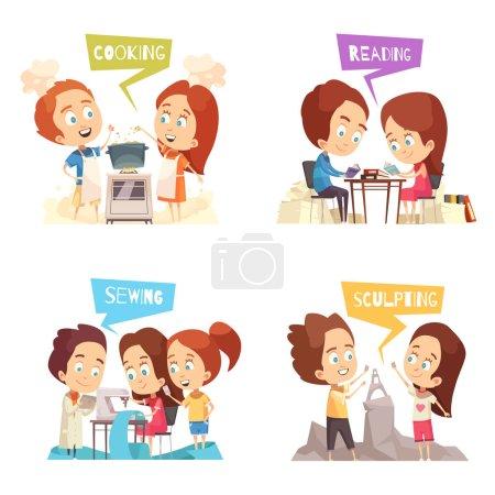 Illustration pour Enfants classes 2x2 design concept ensemble de personnages de dessins animés engagés dans la couture cuisine sculpture lecture vectoriel illustration - image libre de droit