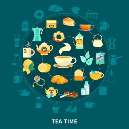 Tea time round composition with hot drink, cups, t...