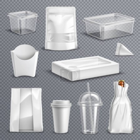 Illustration pour Fastfood emballages vides vierges modèles réalistes fixés avec tasse à coke en plastique transparent et récipients illustration vectorielle de fond transparent - image libre de droit
