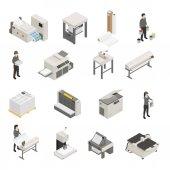 Printing House Isometric Icons Set