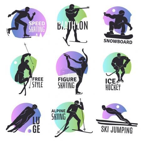 Winter Sports Emblems Set