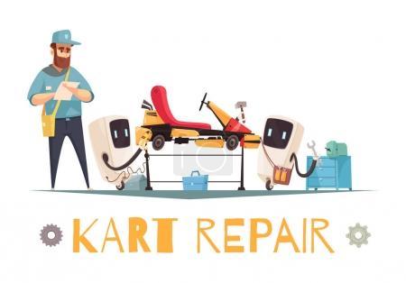 Illustration for Mechanic and two robots repairing kart racing car cartoon vector illustration - Royalty Free Image