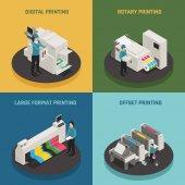 Printing House 4 Isometric Icons