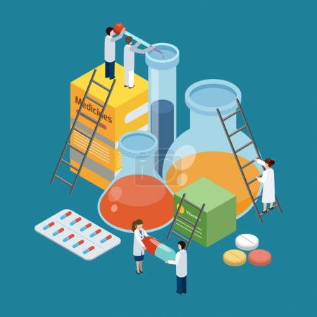 Illustration for Pharmaceutical production symbolic isometric background poster with lab researches climbing on medicine pills packages retorts vector illustration - Royalty Free Image