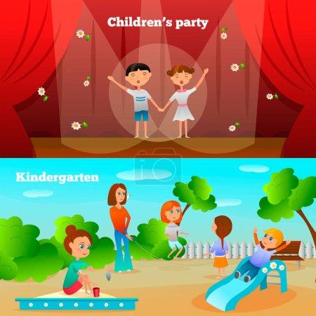 Illustration pour Compositions de personnages de maternelle avec performance de fille et garçon et enfants sur aire de jeux illustration vectorielle isolée - image libre de droit