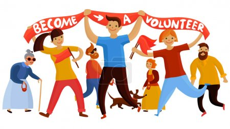 Illustration for Volunteers composition with young people and teenage kids flat cartoon style characters holding banner and flags vector illustration - Royalty Free Image