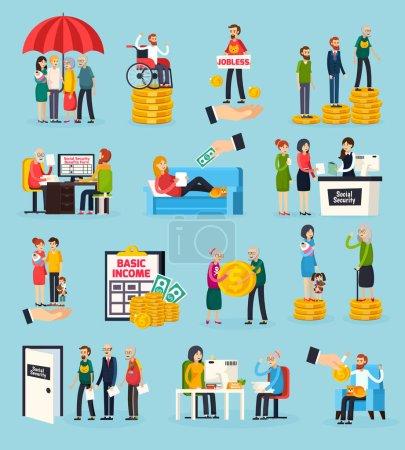 Illustration pour Icônes orthogonales de sécurité sociale avec protection familiale, prestations d'invalidité et de chômage, exécution de documents illustration vectorielle isolée - image libre de droit