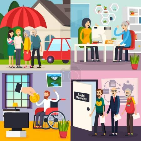 Illustration pour Conception orthogonale de la sécurité sociale avec protection familiale, protection de la retraite, prestations d'invalidité et de chômage illustration vectorielle isolée - image libre de droit