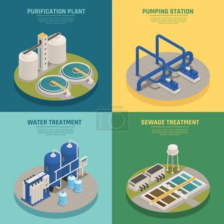 Illustration for Water cleaning systems 4 isometric icons square with purification plant and sewage treatment background isolated vector illustration - Royalty Free Image