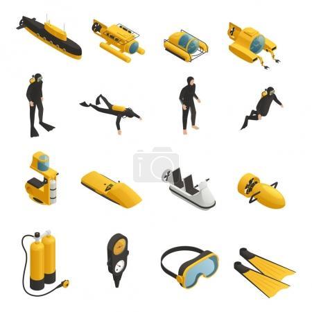 Équipement sous-marin Icônes isométriques Set