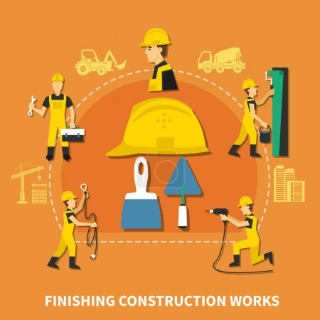 Illustration pour Composition des ouvriers de construction colorés et plats avec des travaux de finition description des étapes illustration vectorielle - image libre de droit