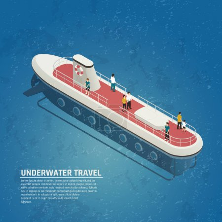 Sous-marin Voyage sous-marin Composition isométrique