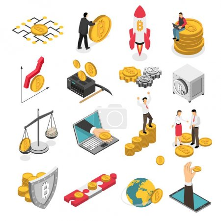 Illustration for Set of isometric icons with ico blockchain concept, safe bitcoin, cryptocurrency mining, startup project isolated vector illustration - Royalty Free Image