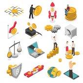 Cryptocurrency Isometric Icons Set