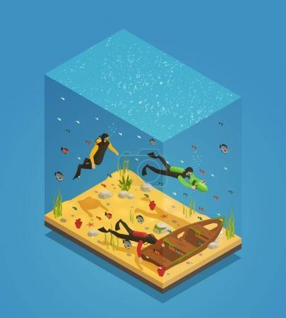 Plongeurs Sous-marins Composition Isométrique