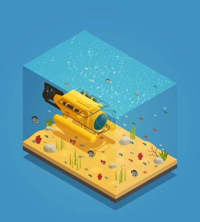 Illustration vectorielle de l'équipement sous-marin Bathyscaphe
