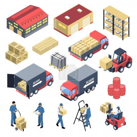Photo for Ware house set of isometric icons with storage building, staff, forklifts, boxes and trucks isolated vector illustration - Royalty Free Image