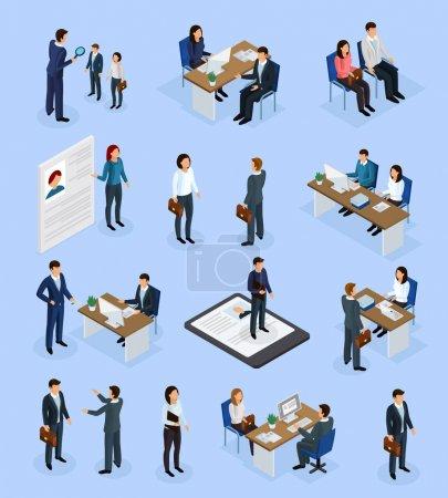 Illustration pour Icônes isométriques de l'emploi fixées avec l'agence de recrutement demandeur d'emploi interview CV gestionnaire d'embauche de sélection illustration vectorielle isolée - image libre de droit