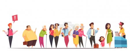 Illustration for People waiting in long queue at counter with fat man hipster old young couples kid  vector illustration - Royalty Free Image
