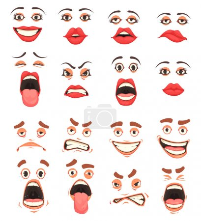 Illustration for Men women cute mouth lips eyes facial expressions gestures grotesque comic  emotions cartoon big set vector illustration - Royalty Free Image