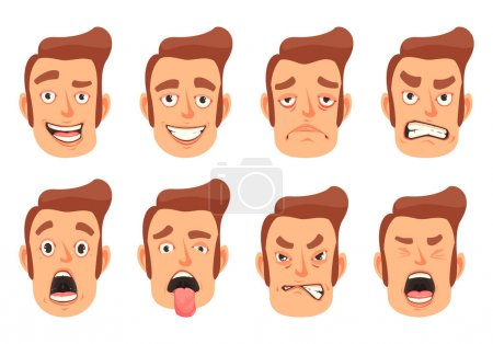 Illustration for Men facial gestures pleasure surprise fear disgust emotions 8 cute mouth cartoon icons set isolated vector illustration - Royalty Free Image