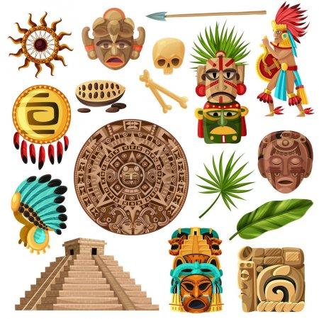 Illustration pour Icônes décoratives mexicaines colorées et avec des symboles de la culture maya traditionnelle histoire et religion isolé dessin animé vecteur illustration - image libre de droit