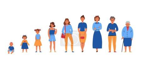 Illustration pour Femmes de différentes générations ensemble plat avec bébé soeur mère grand-mère isolé sur fond blanc illustration vectorielle - image libre de droit